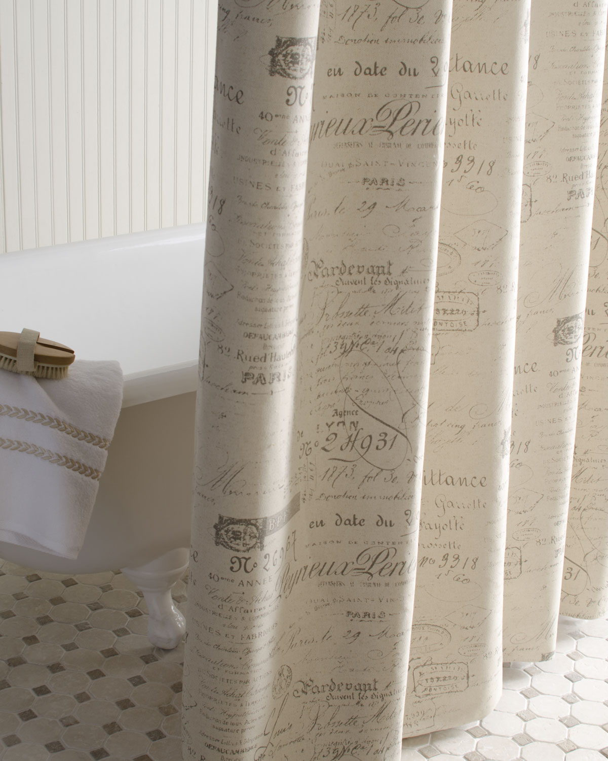 French Script Shower Curtain   French Laundry Home