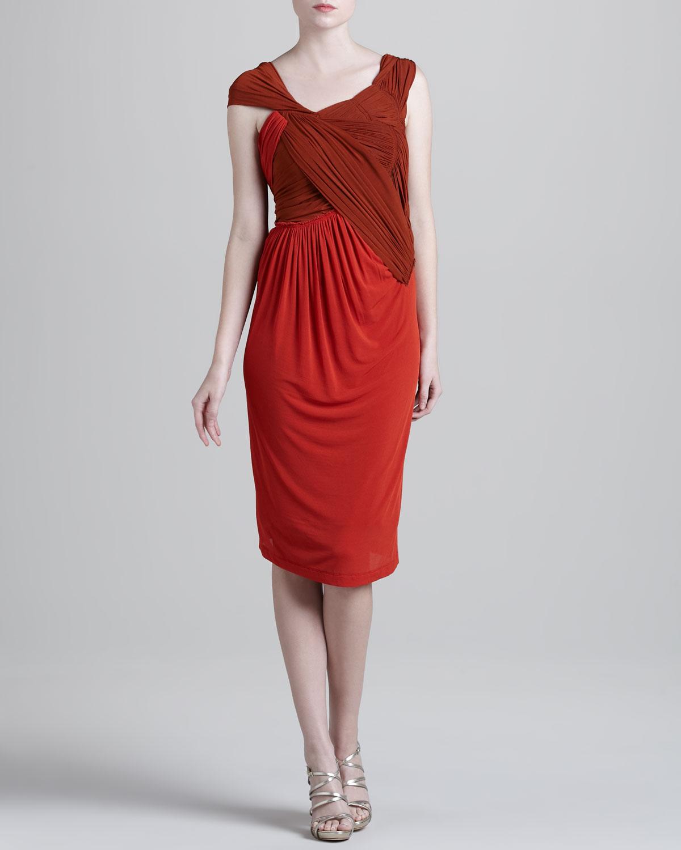 Womens Slash Draped Jersey Dress   Donna Karan   Papaya orange (SMALL)